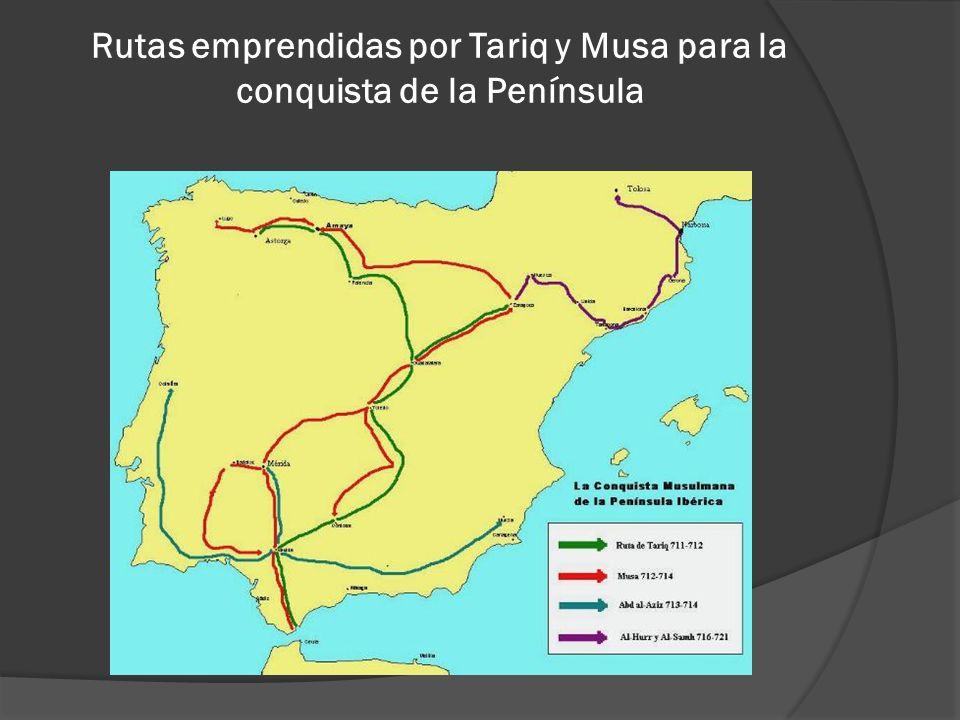 Rutas emprendidas por Tariq y Musa para la conquista de la Península