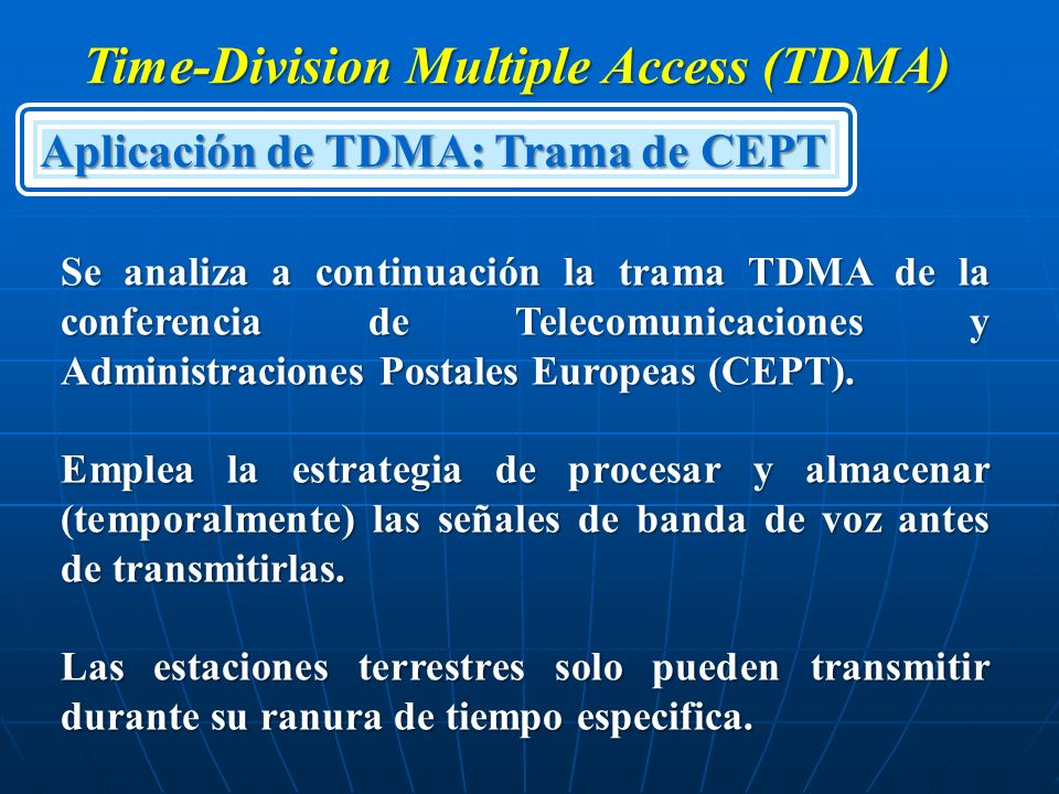 tdma time division multiple access Fdma (frequency division multiple access) is the division of the frequency band allocated for wireless cellular telephone communication into 30 channels, each of which can carry a voice conversation or, with digital service, carry digital data fdma is a basic technology in the analog advanced .