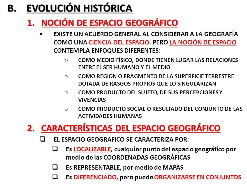 B. EVOLUCIÓN HISTÓRICA NOCIÓN DE ESPACIO GEOGRÁFICO