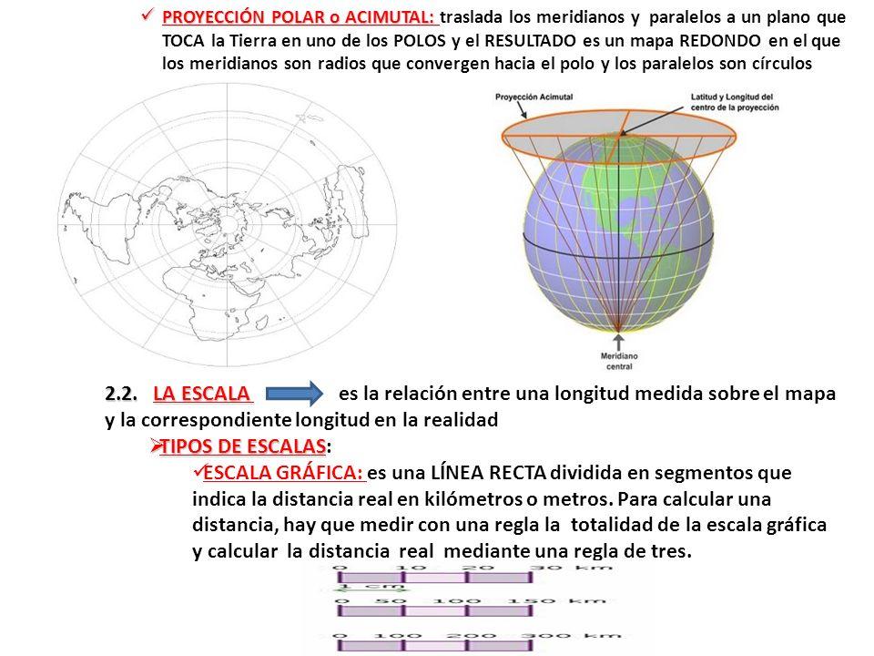 PROYECCIÓN POLAR o ACIMUTAL: traslada los meridianos y paralelos a un plano que TOCA la Tierra en uno de los POLOS y el RESULTADO es un mapa REDONDO en el que los meridianos son radios que convergen hacia el polo y los paralelos son círculos