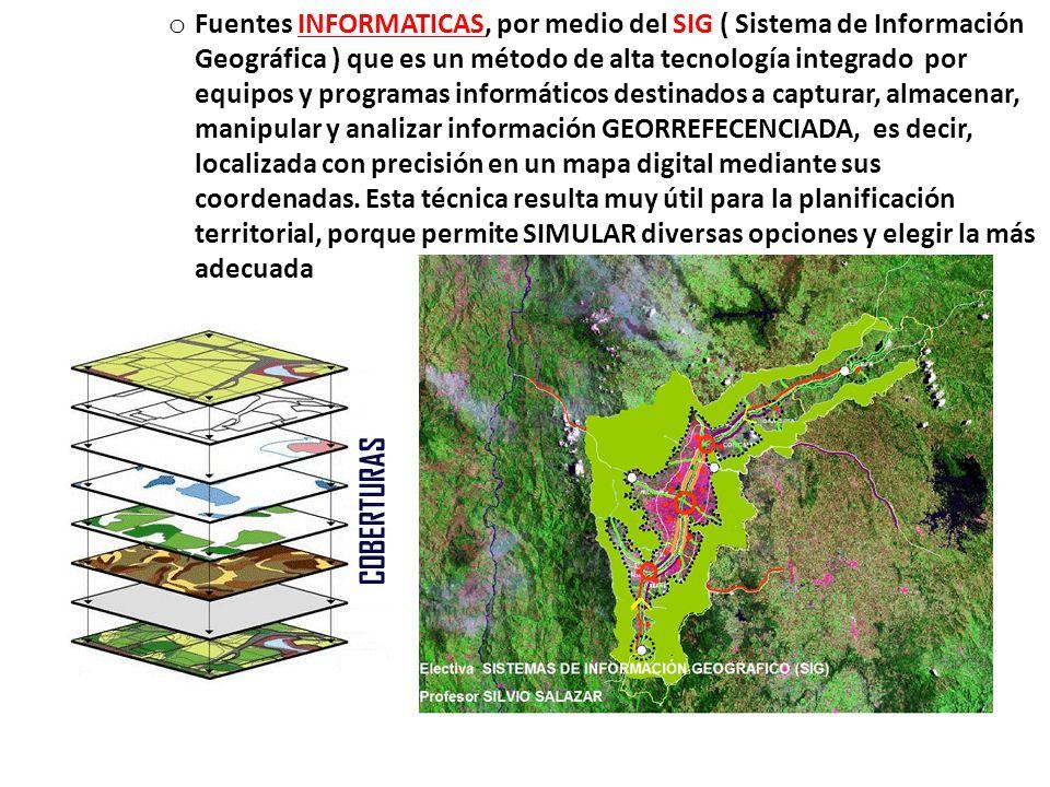Fuentes INFORMATICAS, por medio del SIG ( Sistema de Información Geográfica ) que es un método de alta tecnología integrado por equipos y programas informáticos destinados a capturar, almacenar, manipular y analizar información GEORREFECENCIADA, es decir, localizada con precisión en un mapa digital mediante sus coordenadas.