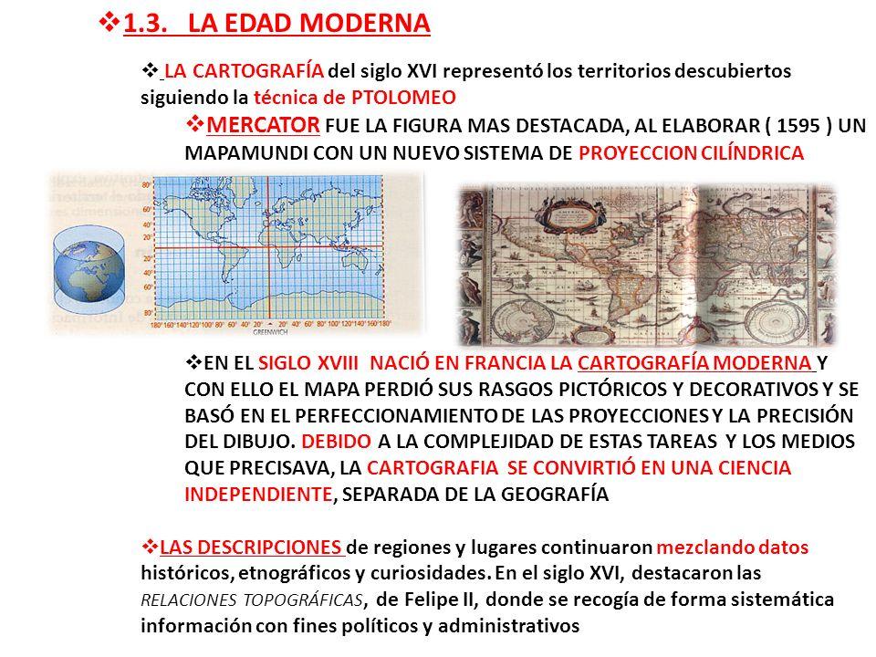 1.3. LA EDAD MODERNA LA CARTOGRAFÍA del siglo XVI representó los territorios descubiertos siguiendo la técnica de PTOLOMEO.