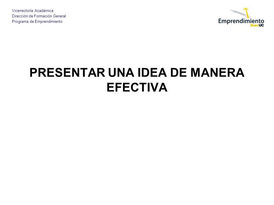 PRESENTAR UNA IDEA DE MANERA EFECTIVA