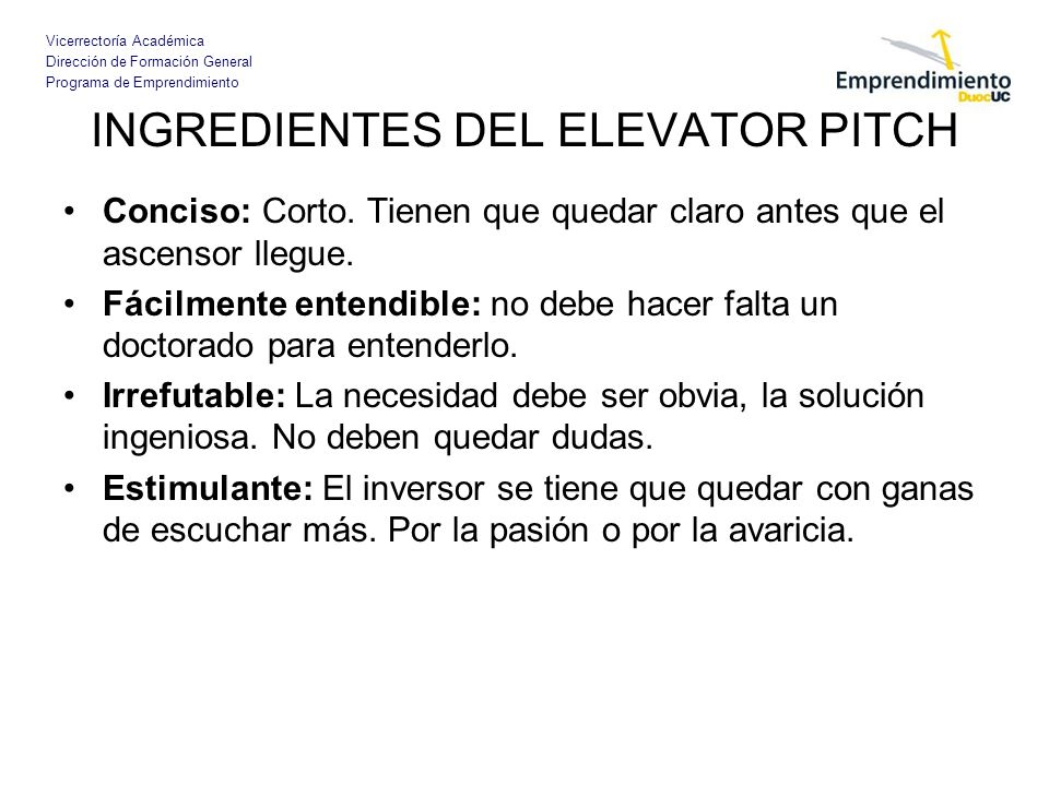 INGREDIENTES DEL ELEVATOR PITCH