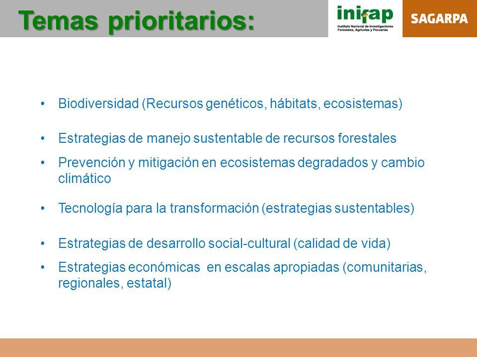 Temas prioritarios: Biodiversidad (Recursos genéticos, hábitats, ecosistemas) Estrategias de manejo sustentable de recursos forestales.
