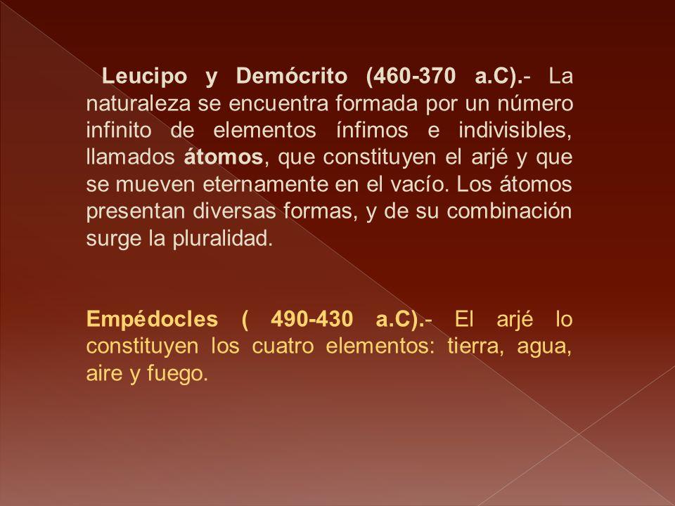 Leucipo y Demócrito (460-370 a. C)