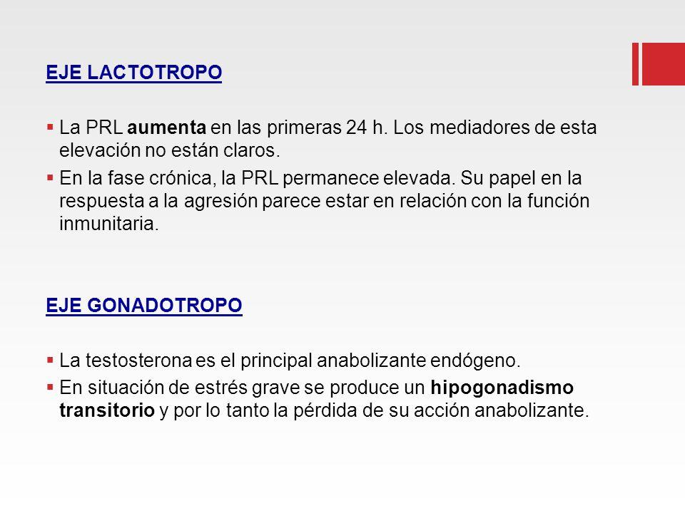 EJE LACTOTROPO La PRL aumenta en las primeras 24 h. Los mediadores de esta elevación no están claros.