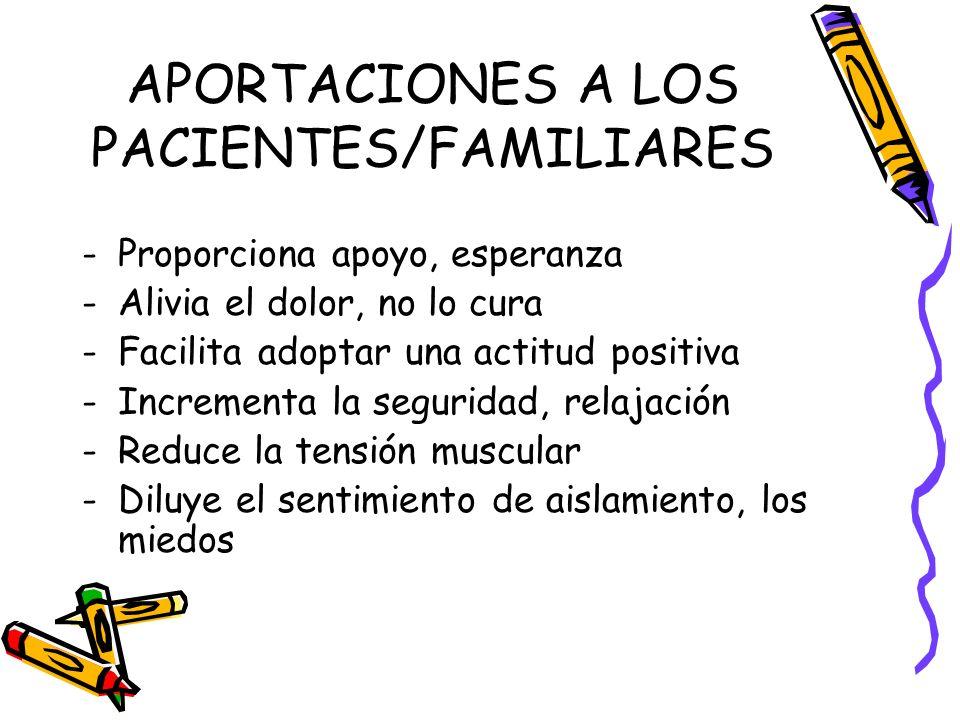 APORTACIONES A LOS PACIENTES/FAMILIARES