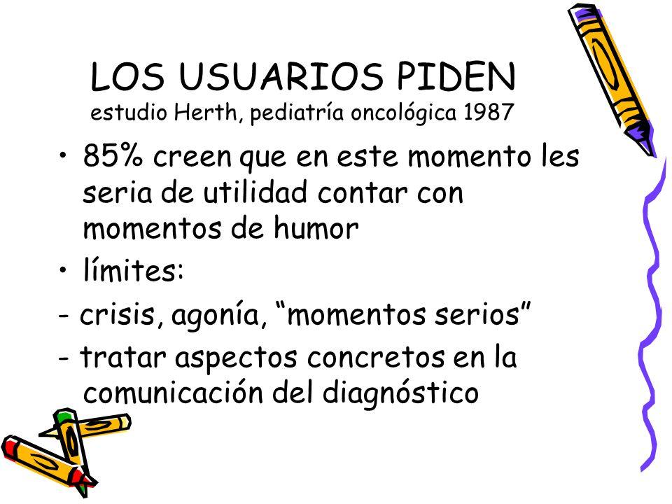 LOS USUARIOS PIDEN estudio Herth, pediatría oncológica 1987