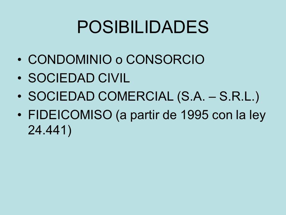 POSIBILIDADES CONDOMINIO o CONSORCIO SOCIEDAD CIVIL