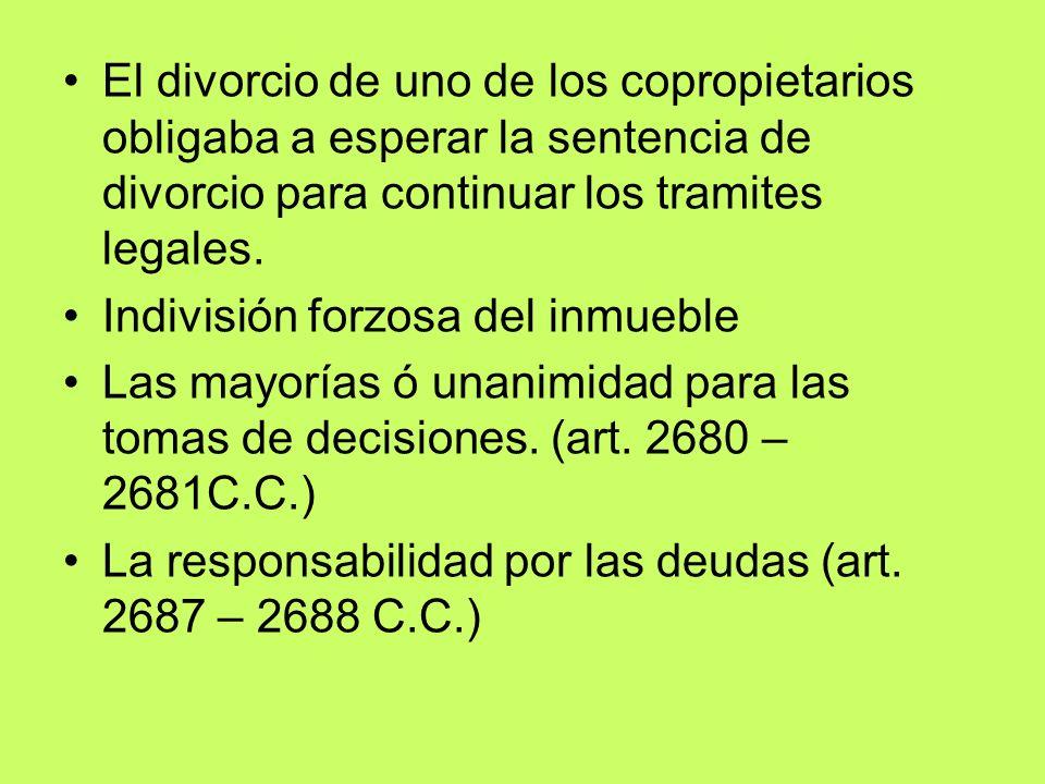 El divorcio de uno de los copropietarios obligaba a esperar la sentencia de divorcio para continuar los tramites legales.