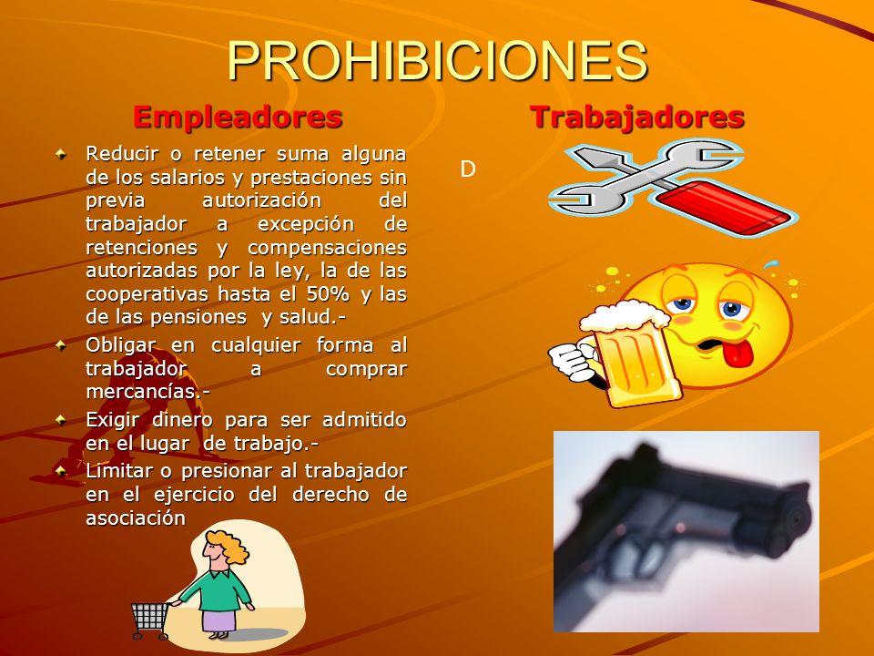 PROHIBICIONES Empleadores Trabajadores D