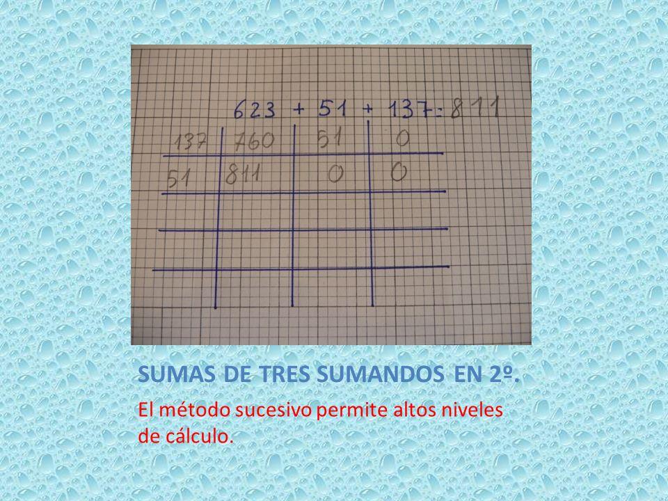 SUMAS DE TRES SUMANDOS EN 2º.