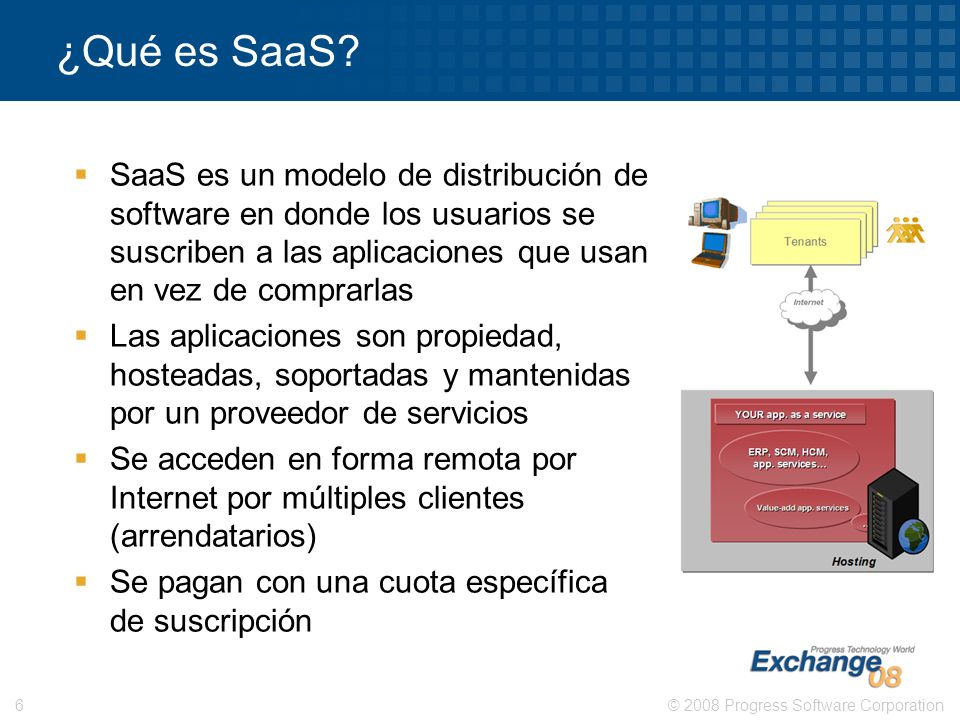 ¿Qué es SaaS SaaS es un modelo de distribución de software en donde los usuarios se suscriben a las aplicaciones que usan en vez de comprarlas.