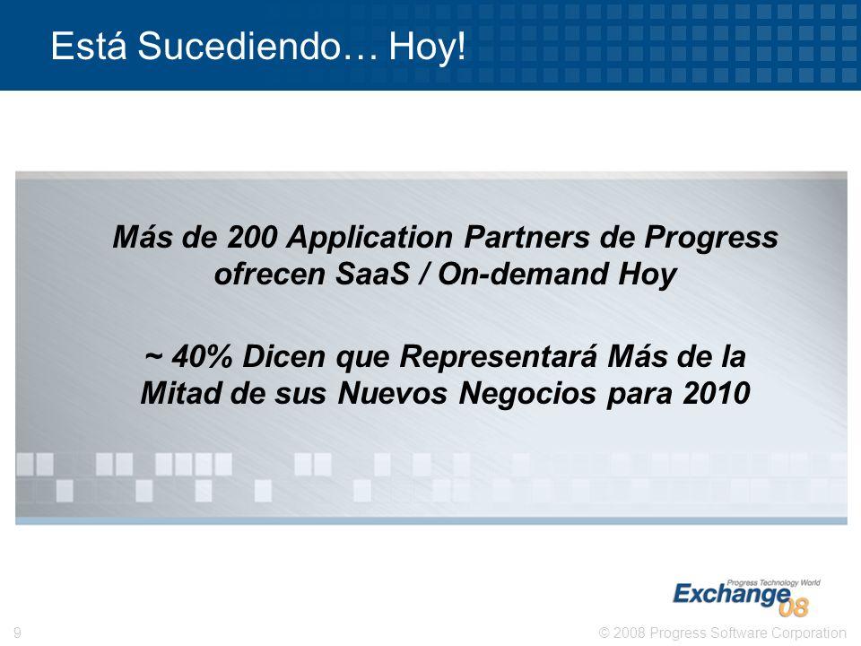 Está Sucediendo… Hoy! Más de 200 Application Partners de Progress ofrecen SaaS / On-demand Hoy.