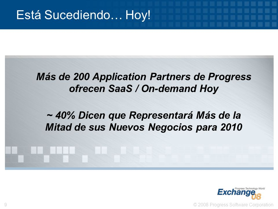 Está Sucediendo… Hoy!Más de 200 Application Partners de Progress ofrecen SaaS / On-demand Hoy.