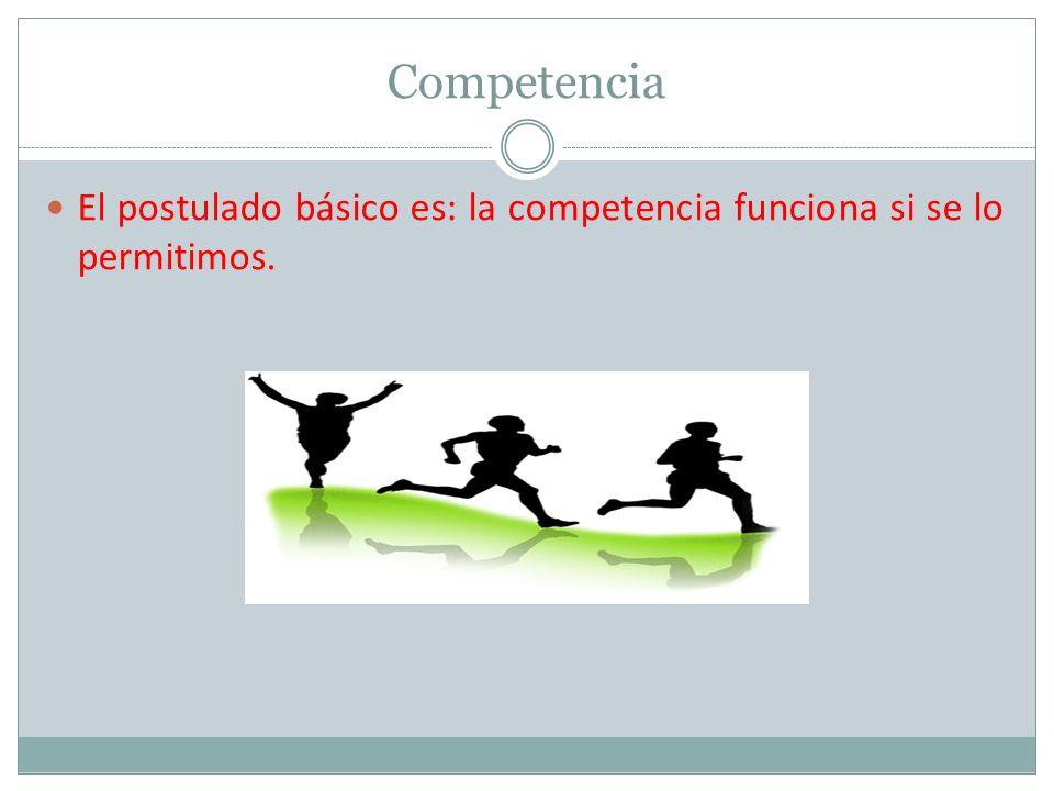 Competencia El postulado básico es: la competencia funciona si se lo permitimos.