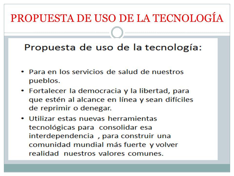 PROPUESTA DE USO DE LA TECNOLOGÍA