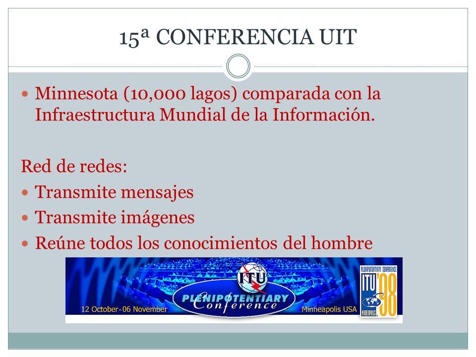15ª CONFERENCIA UITMinnesota (10,000 lagos) comparada con la Infraestructura Mundial de la Información.