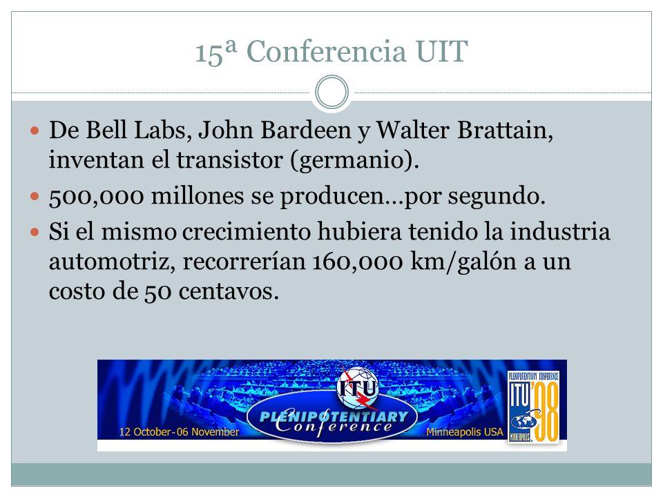 15ª Conferencia UIT De Bell Labs, John Bardeen y Walter Brattain, inventan el transistor (germanio).