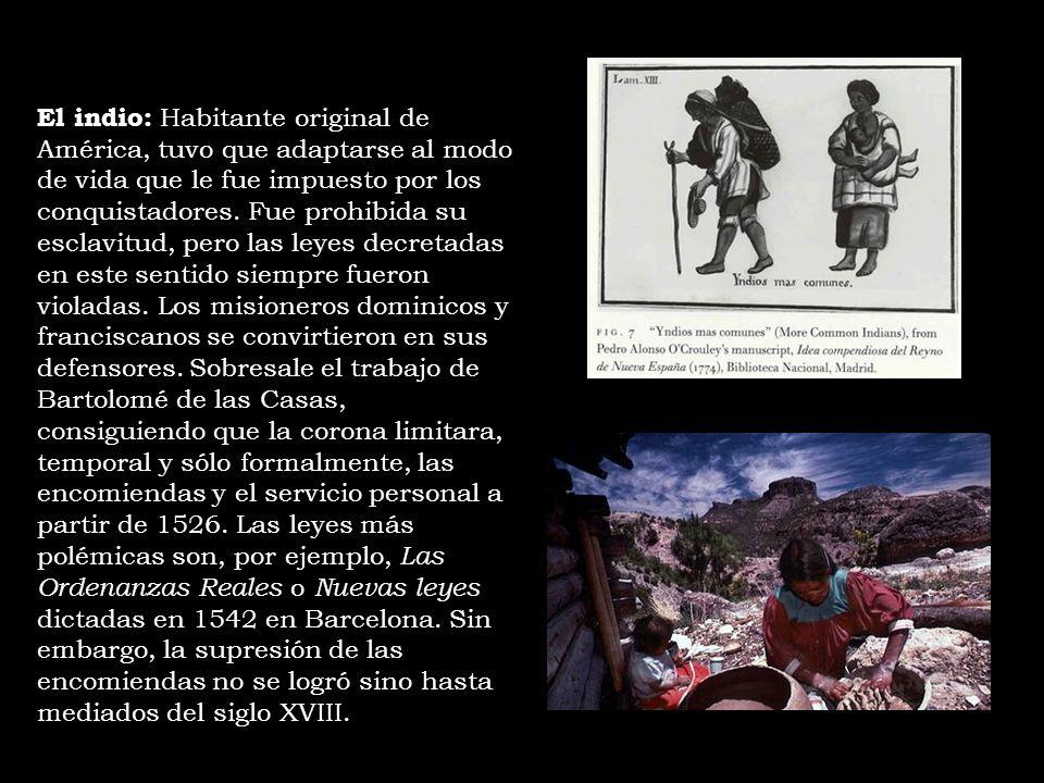 El indio: Habitante original de América, tuvo que adaptarse al modo de vida que le fue impuesto por los conquistadores.