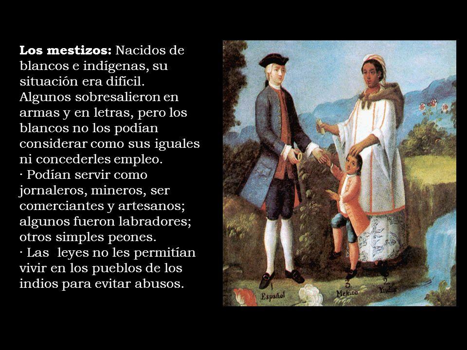 Los mestizos: Nacidos de blancos e indígenas, su situación era difícil