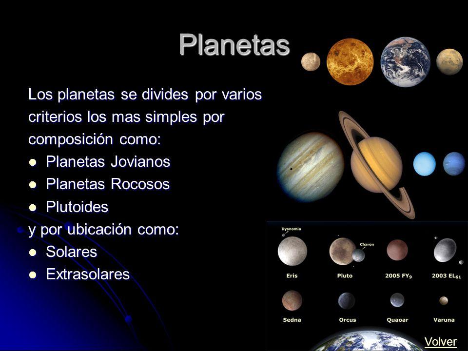 Planetas Los planetas se divides por varios