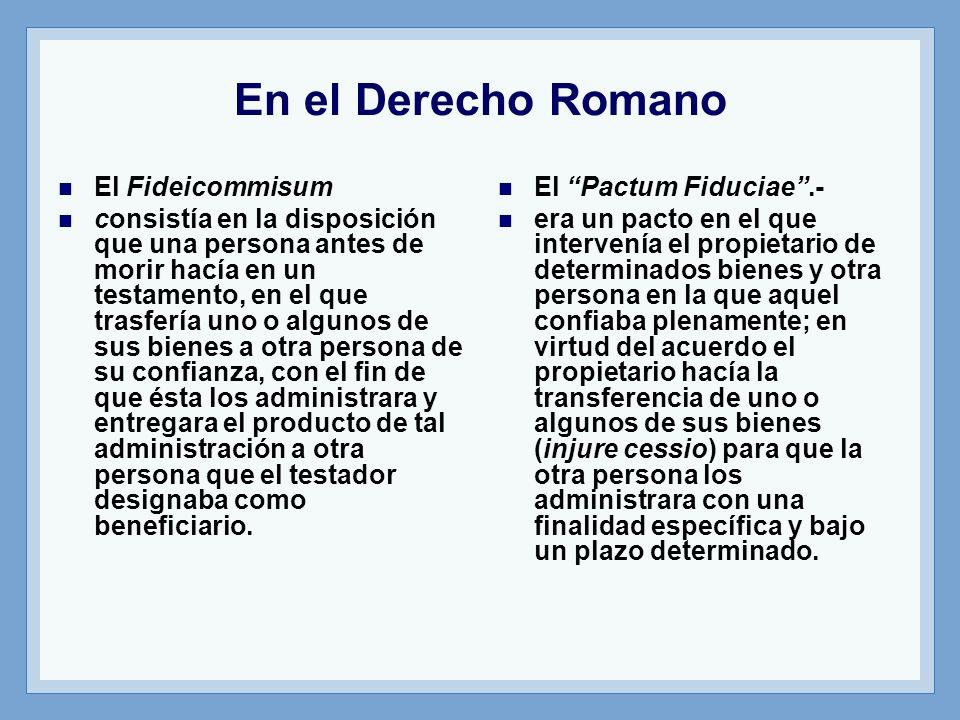 En el Derecho Romano El Fideicommisum