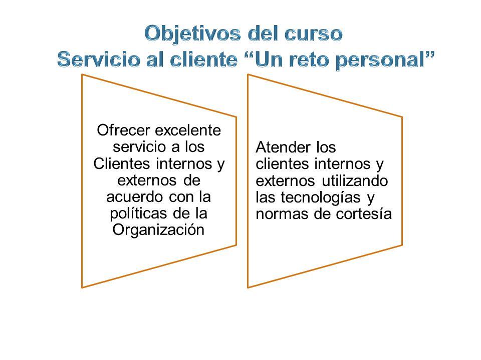 Objetivos del curso Servicio al cliente Un reto personal