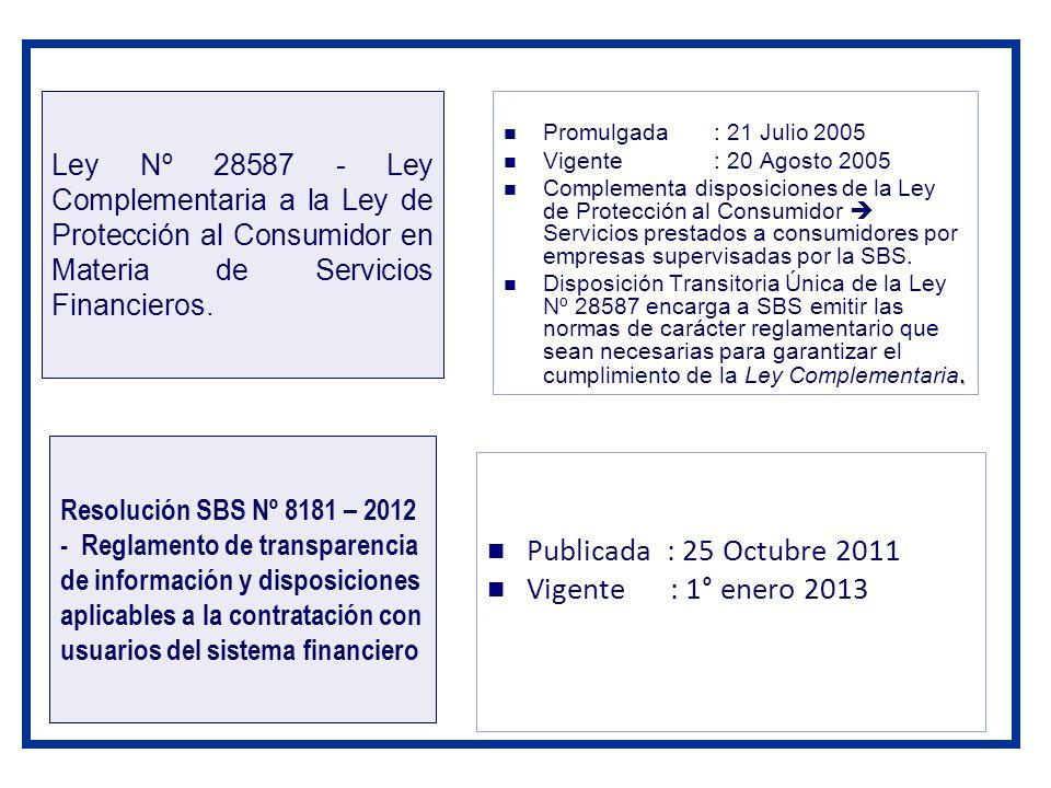 Publicada : 25 Octubre 2011 Vigente : 1° enero 2013