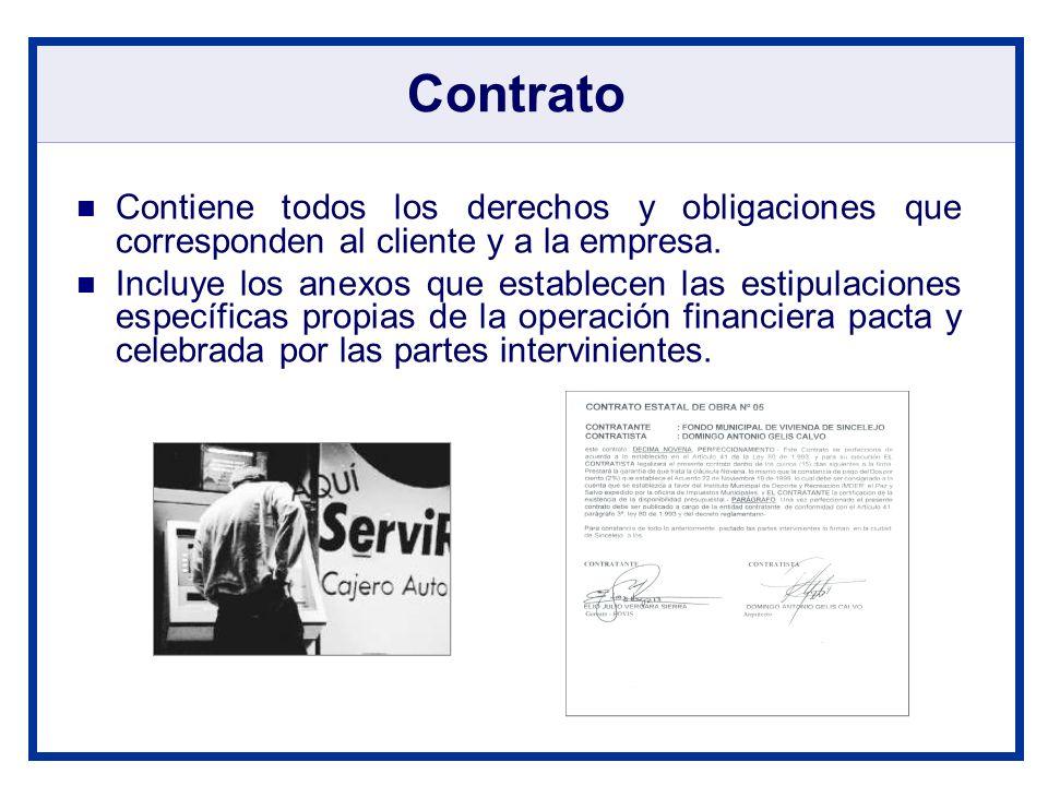 Contrato Contiene todos los derechos y obligaciones que corresponden al cliente y a la empresa.