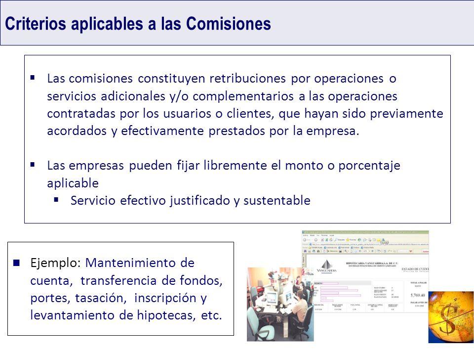 Criterios aplicables a las Comisiones