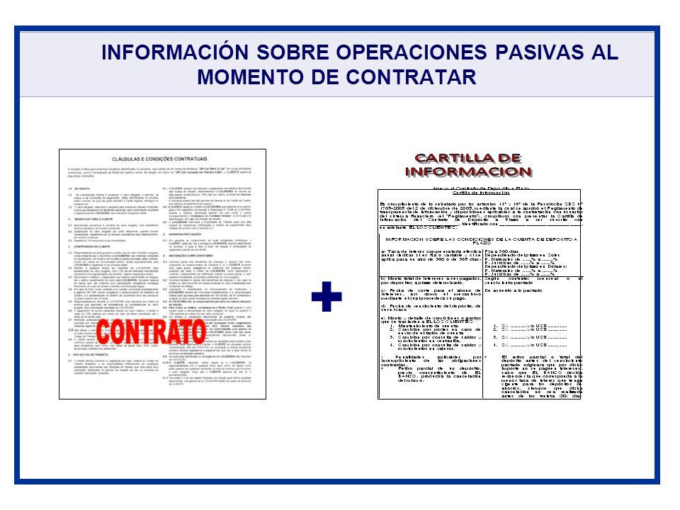 INFORMACIÓN SOBRE OPERACIONES PASIVAS AL MOMENTO DE CONTRATAR