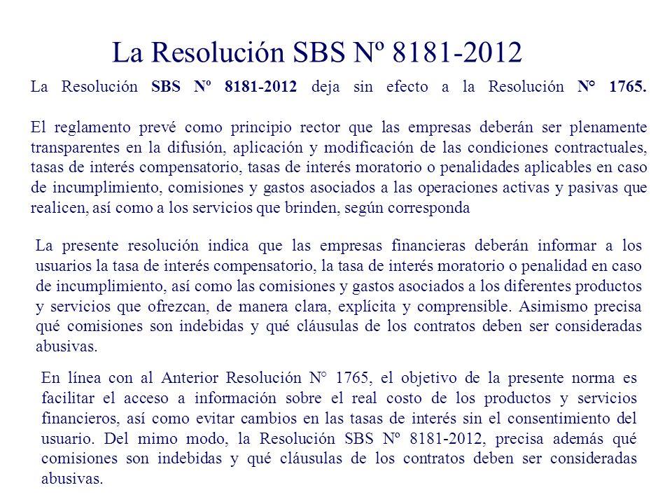 La Resolución SBS Nº 8181-2012
