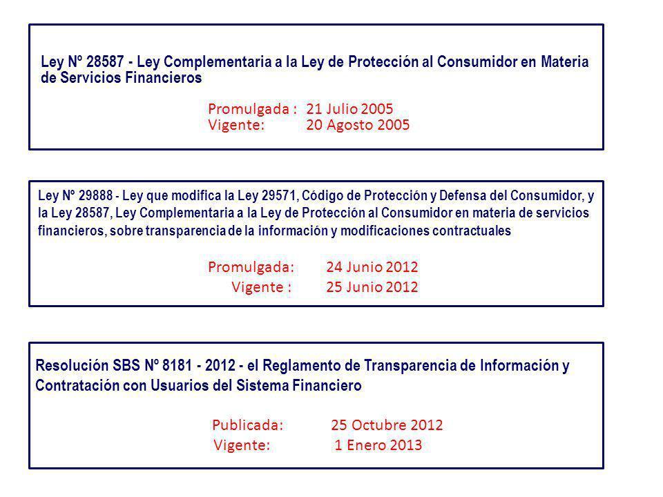 Ley Nº 28587 - Ley Complementaria a la Ley de Protección al Consumidor en Materia de Servicios Financieros Promulgada : 21 Julio 2005 Vigente: 20 Agosto 2005