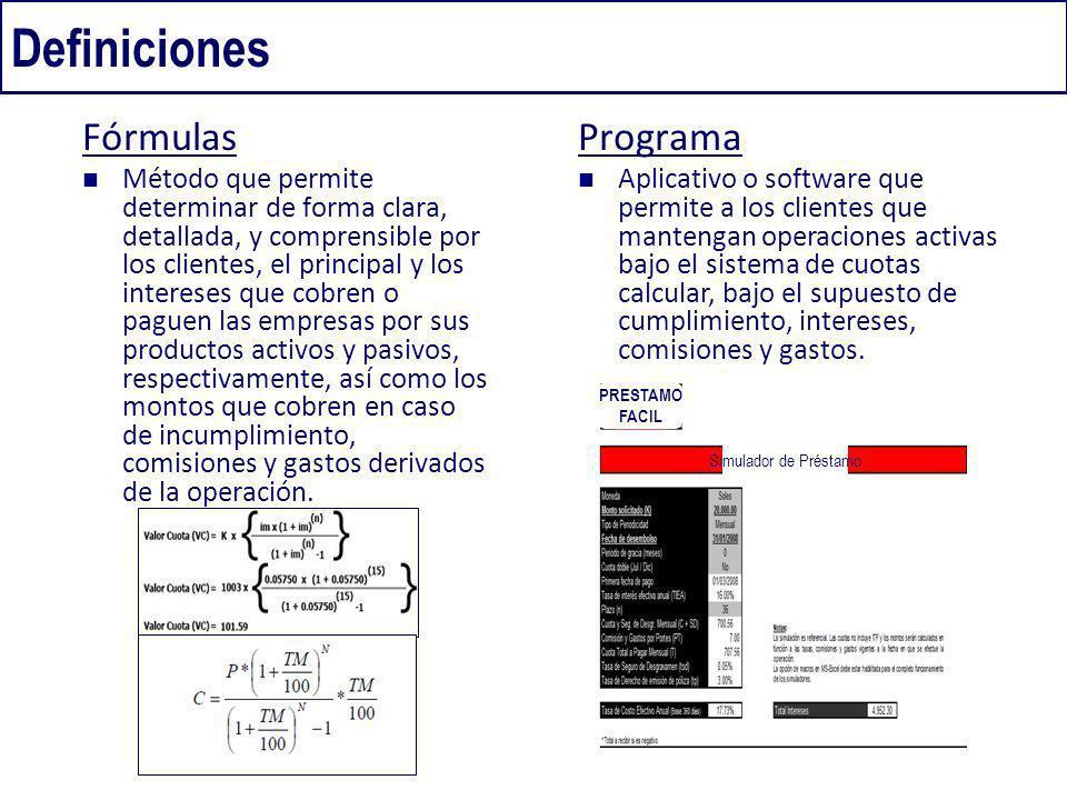 Definiciones Fórmulas Programa
