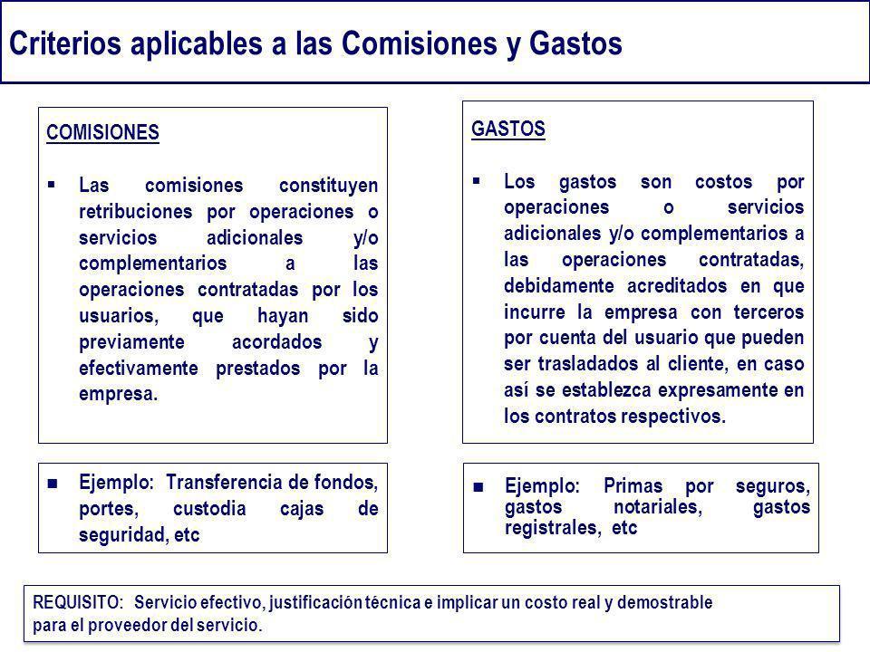 Criterios aplicables a las Comisiones y Gastos