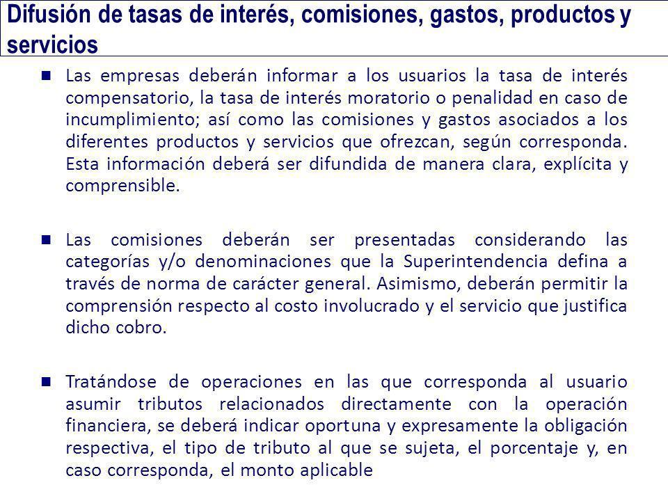 Difusión de tasas de interés, comisiones, gastos, productos y servicios