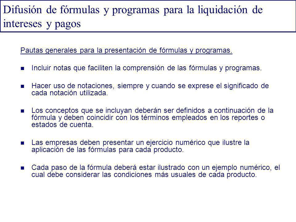 Difusión de fórmulas y programas para la liquidación de intereses y pagos