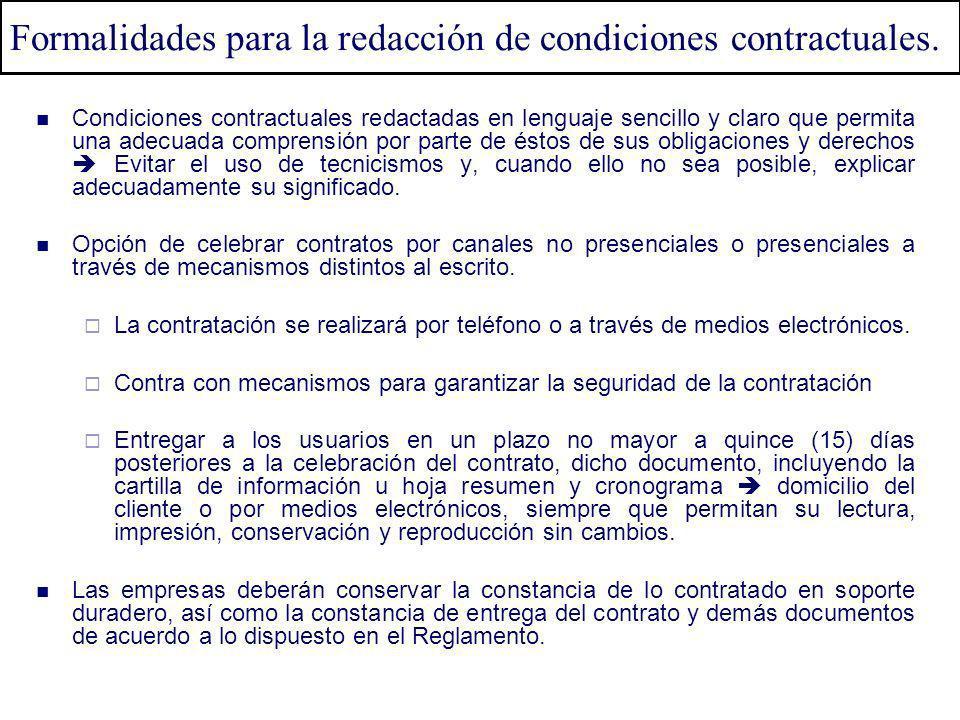 Formalidades para la redacción de condiciones contractuales.