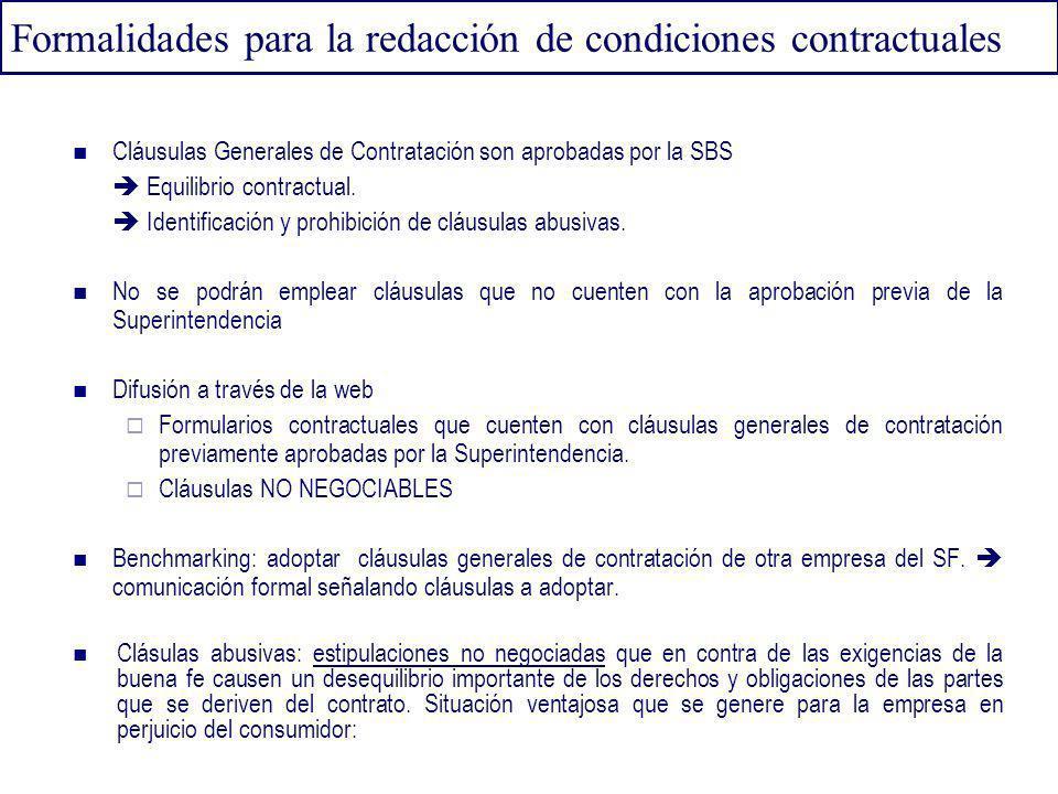 Formalidades para la redacción de condiciones contractuales