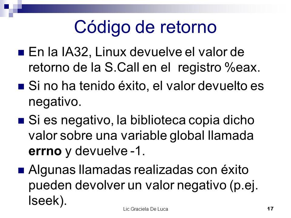 Código de retorno En la IA32, Linux devuelve el valor de retorno de la S.Call en el registro %eax.
