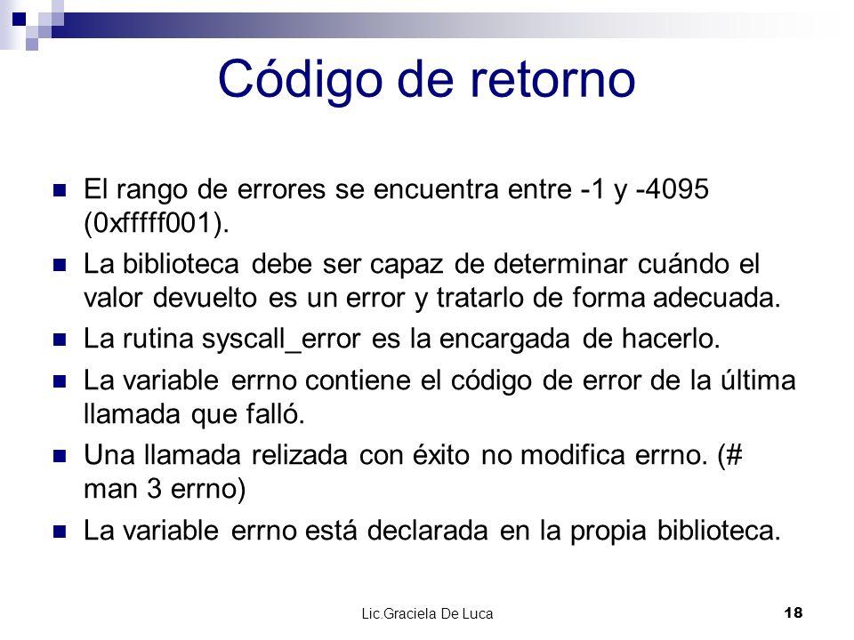 Código de retornoEl rango de errores se encuentra entre -1 y -4095 (0xfffff001).