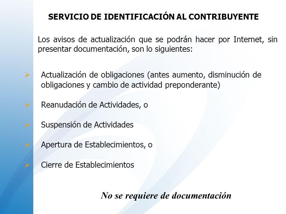 No se requiere de documentación