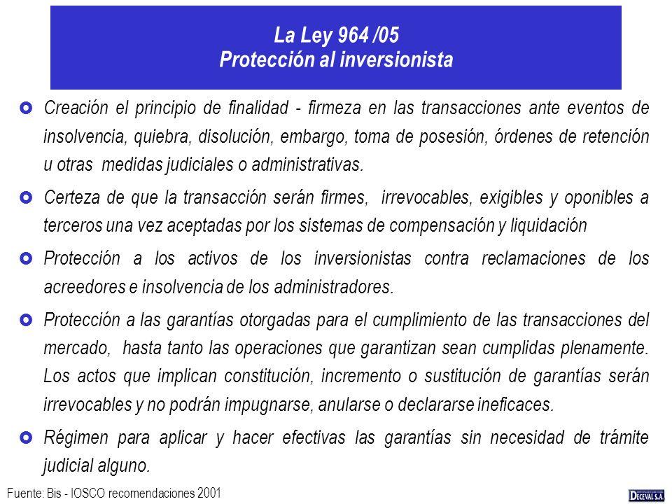 La Ley 964 /05 Protección al inversionista