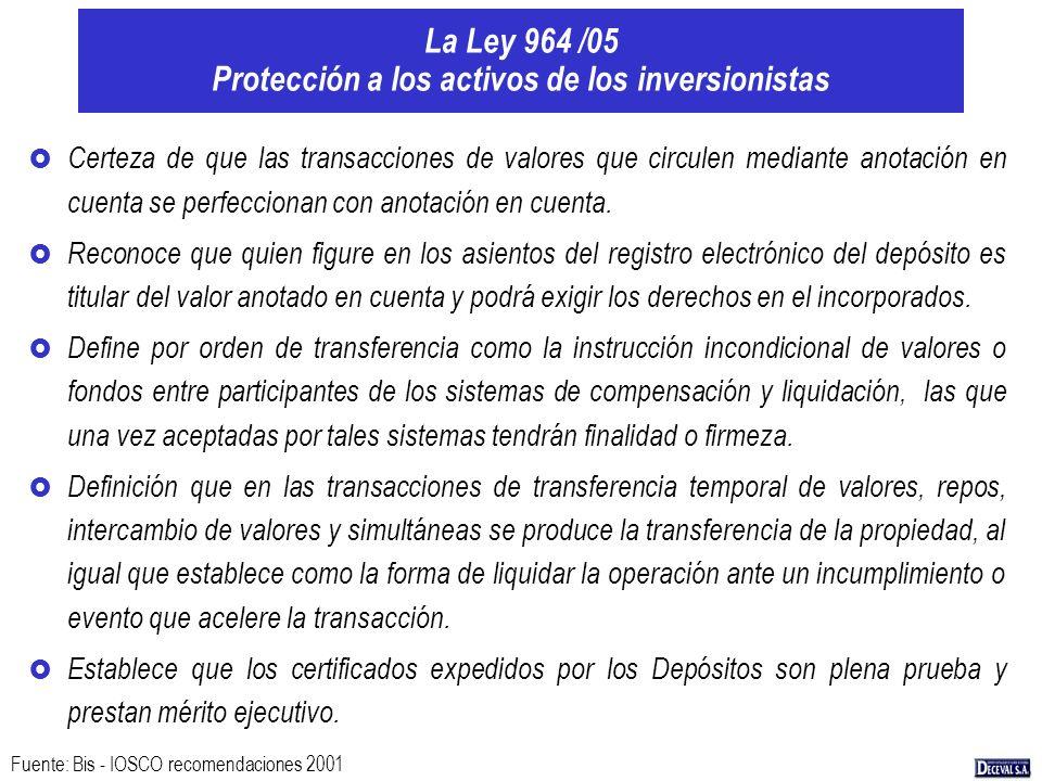 La Ley 964 /05 Protección a los activos de los inversionistas