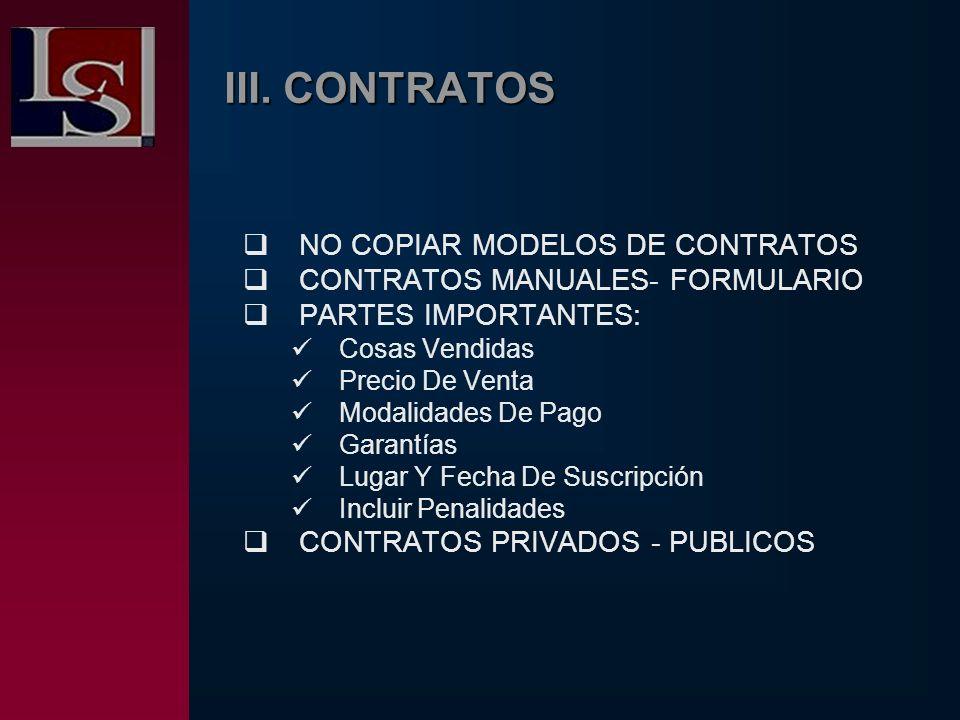 III. CONTRATOS NO COPIAR MODELOS DE CONTRATOS