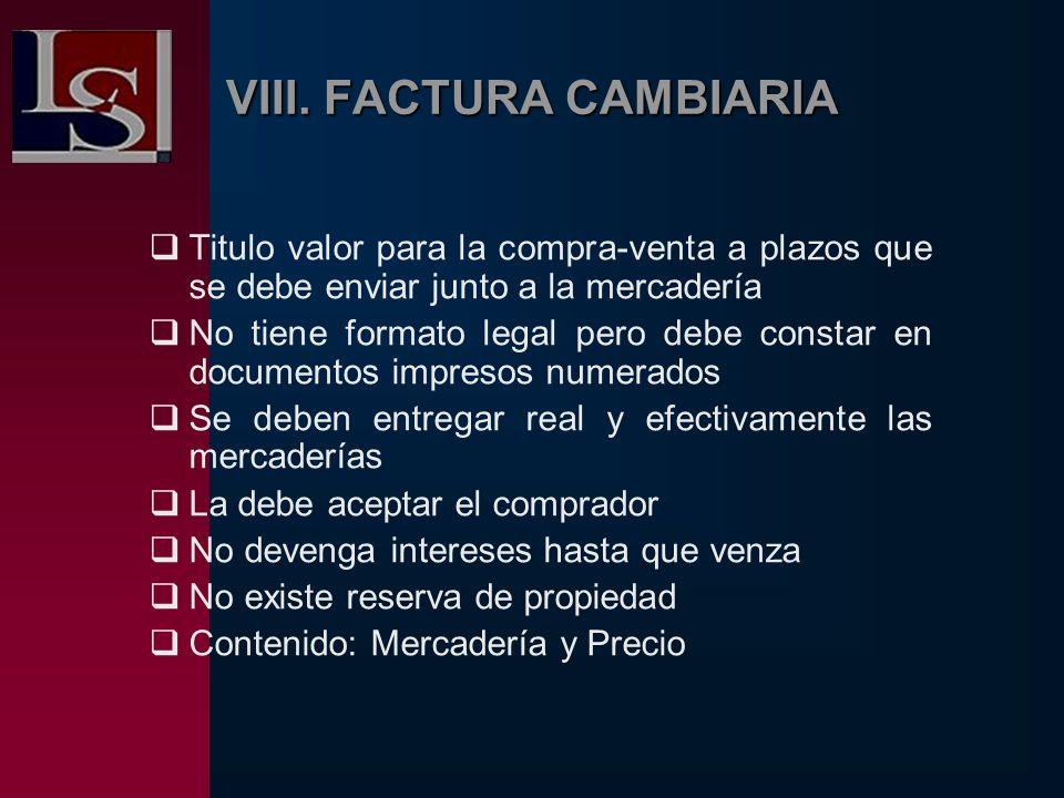 VIII. FACTURA CAMBIARIA