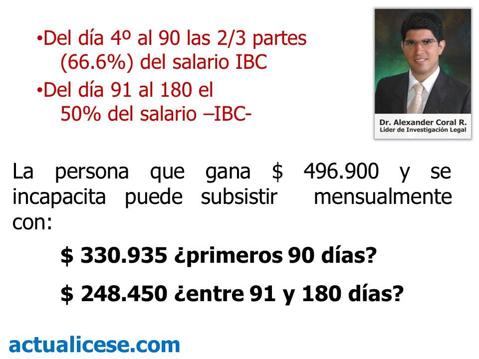 Del día 4º al 90 las 2/3 partes (66.6%) del salario IBC