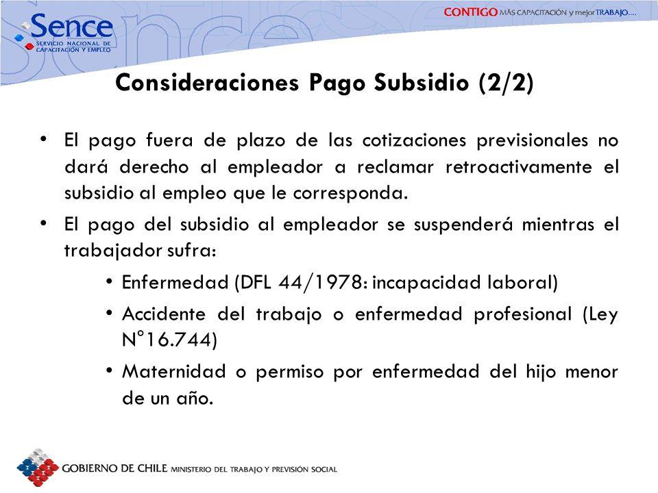 Consideraciones Pago Subsidio (2/2)